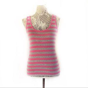 Michael Stars Pink Gray Striped Cotton Tank Top